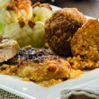 Dish with rice meat and cauliflower — Stockfoto