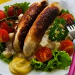 Sausage and salad — Stock Photo