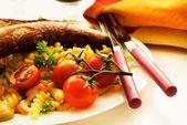 Sausage and pasta salad — Stock Photo