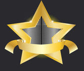 Gold star label vector illustration — Stock Vector