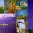 Collage of Greece corfu travel images nature and tourism background — Stock Photo