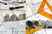 Collection and collage of architectural projects and rolls — Stock Photo