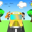 School bus with happy children back to school vector illustration — Stock Vector #12242207