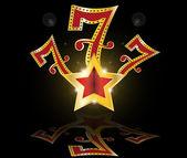 Gold lucky seven slot Machine Jackpot vector — Stock Vector