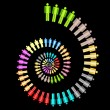 Colorful work team concept spiral Vector illustration on black background — Stock Vector