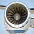 Close up of turbojet of aircraft - Stock Photo