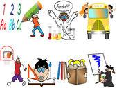 Back to school children vector illustration — Stock Vector