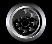Spadające gwiazdy w spirali na metalowy przycisk czarny tło wektor ilustracja — Wektor stockowy