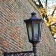 Stock Photo: Street lamp on textured brick wall autumn in park