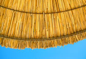 Beach straw parasol umbrella against the blue sky — Stock Photo