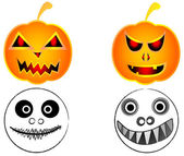 Halloween pumpkin and scary funny ghost — Stock Vector
