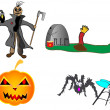 Halloween pumpkin scarecrow grave spider vector illustration funny hand — Stock Vector