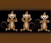 Funny wise monkeys see no evil hear no evil speak no evil vector illustration — Stock Vector