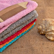 Foto Stock: Spbath towels and seshell