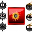 Collection of cartoon bomb emoticons vector illustration — Stock Vector