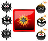 Collection of cartoon bomb emoticons vector illustration — Cтоковый вектор