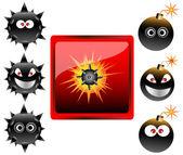 Raccolta di cartoni animati bomba emoticon illustrazione vettoriale — Vettoriale Stock