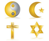Four gold glossy icons for different religions vector illustration — Stock Vector