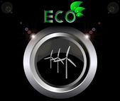 Eco ecology logo green leaf wind generator turbine vector illustration on black button background — Stock Vector