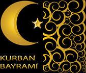 Kurban Bayrami muslim gold star and crescent on black background with swirls — Stock Vector