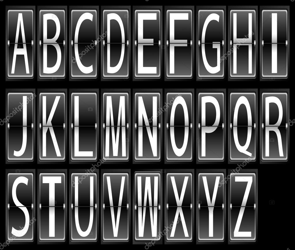 机场终端时间表显示字体设置的矢量图