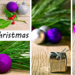 Christmas fir tree with decoration on a wooden board — Stock Photo #14090225