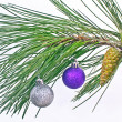 Christmas ball on pine fir tree branches isolated on white — Stock Photo