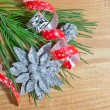 Christmas fir tree with decoration on a wooden board — Stock Photo #14094188