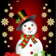 Merry Christmas snowman with snowflakes and present box vector illustration — Векторная иллюстрация