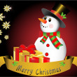 Merry Christmas snowman with snowflakes and present box vector illustration — 图库矢量图片