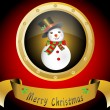Merry Christmas snowman with snowflakes and present box vector illustration — Stockvectorbeeld
