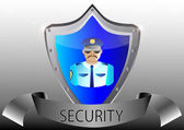 Security policeman in uniform and goggles vector illustration in black button shield — Vector de stock