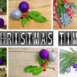 Christmas fir tree with decoration on a wooden board — Stock Photo #14239159