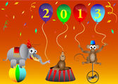 Circus animal New 2013 Year balloons party decoration vector illustration — Stock Vector