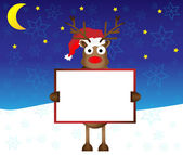 Happy red nose Reindeer deer holding blank paper for your text vector illustration — Stock Vector