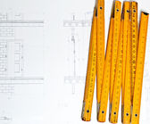 Architect design and project drawings on table background — Stock Photo