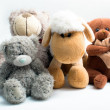 Stuffed animal toys isolated on white - Stock Photo