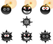 Vector Illustration set of Cartoon Bombs — Stock vektor