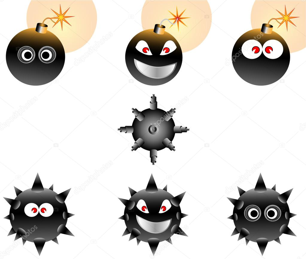 Vector Illustration set of Cartoon Bombs — Stock Vector #16497771