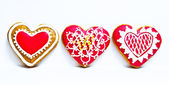 Heart shape ginger breads decorated — Stock Photo