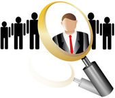 Search Employee Icon for Recruitment Agency Magnifier with Businessman vector illustration — Stock Vector