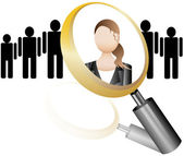 Search Employee Icon for Recruitment Agency Magnifier with Businesswoman vector illustration — Stock Vector