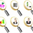 Stock Vector: Finance and Banking magnifying glass icons set vector illustration