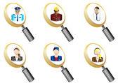 Avatars magnifying glass icons set vector illustration — ストックベクタ