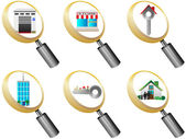 Real Estate icons magnifying glass icons set vector illustration — Stock Vector