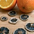 Decorated fresh orange scented christmas decoration on wood background — Stock Photo