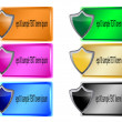 Wektor stockowy : Header or Banner Design colorful Button Shield sticker vector illustration