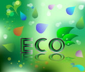 Eco ecology logo green leaf vector illustration on green floral background — Stock Vector
