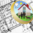 Architectural plan blueprint real estate business concept with magnifying glass lens happy family and dream house — Stock Photo #17878723