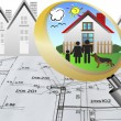 Architectural plan blueprint real estate business concept with magnifying glass lens happy family and dream house — ストック写真